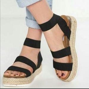 Shoes - Black Espadrille Slip On Sandals